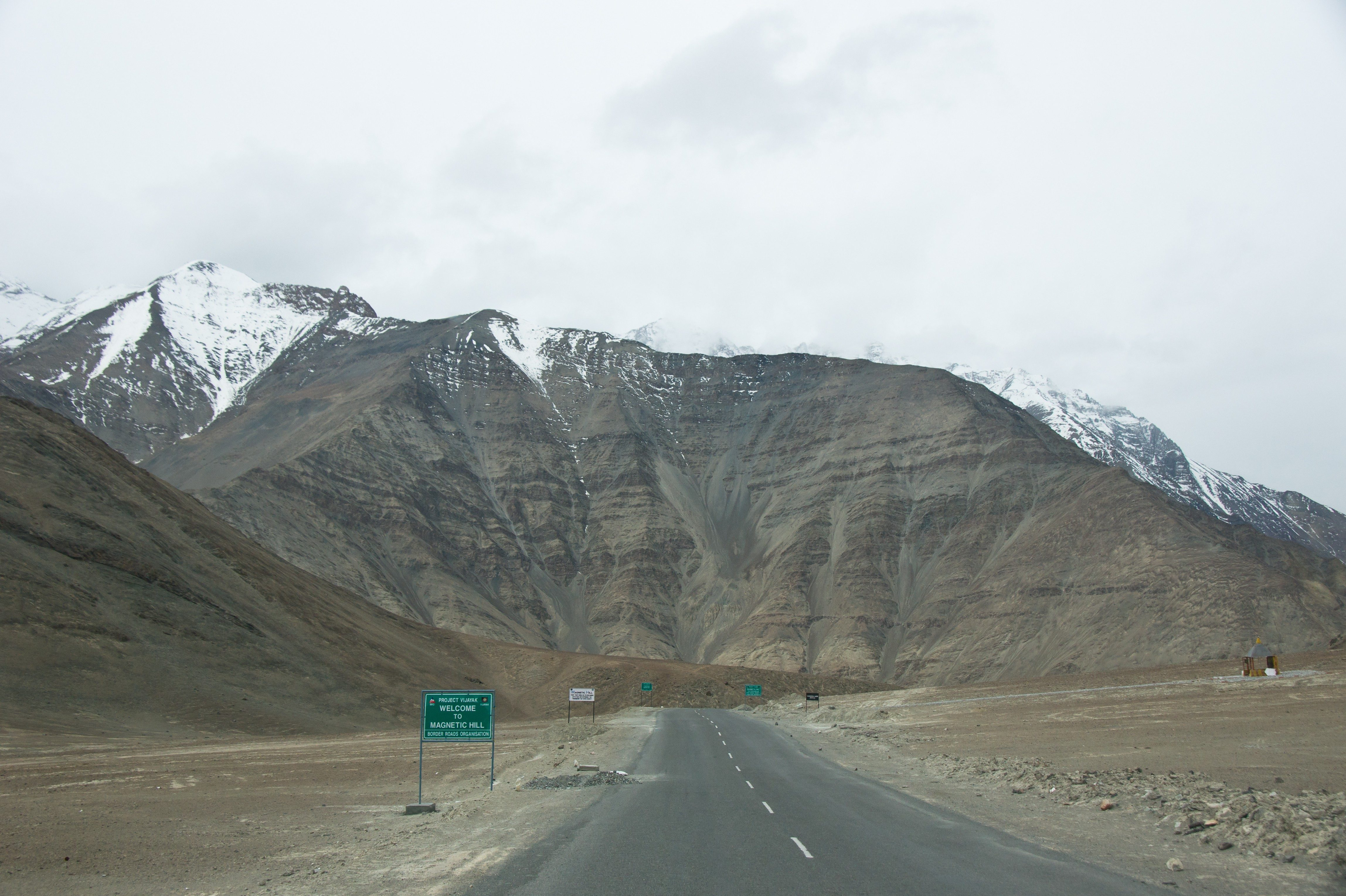 Magnetic Hill is a gravity hill located near Leh in Ladakh, India