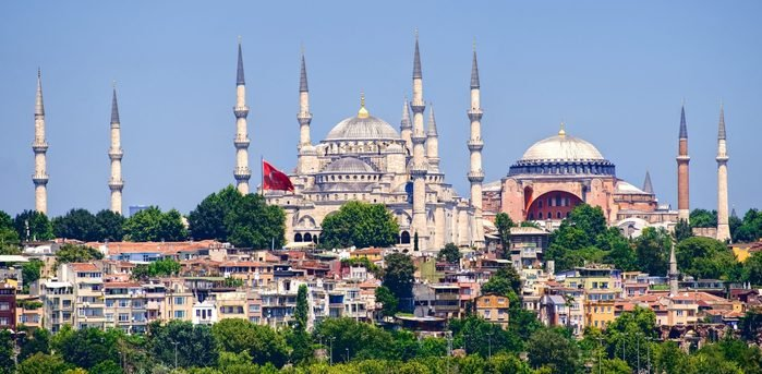View to Blue Mosque and Hagia Sophia cathedral in Istanbul from Marmara Sea
