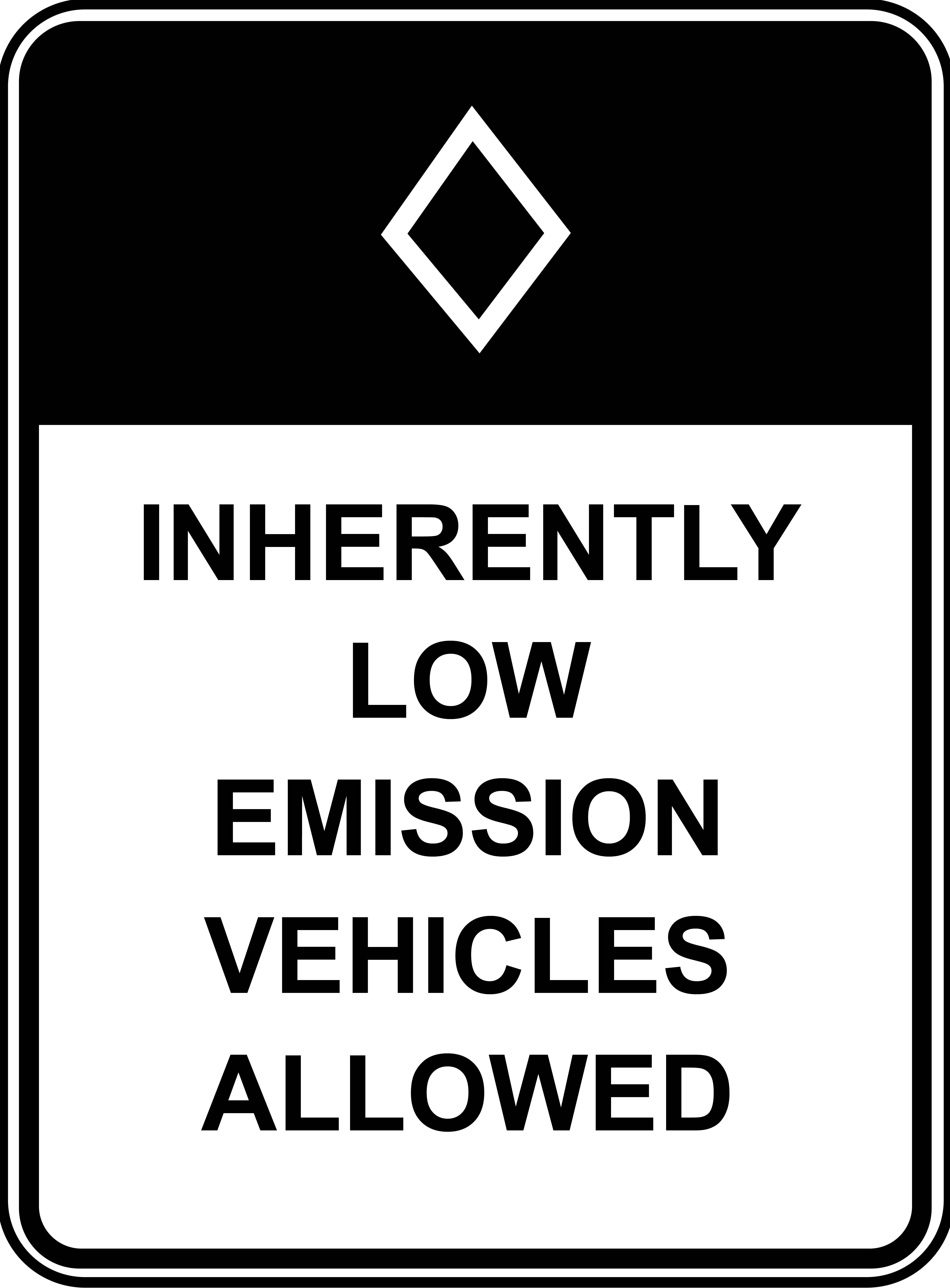 Ingerently low emission vehicles allowed