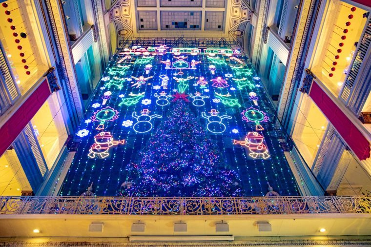 Christmas light show at macy's center city in philadelphia PA