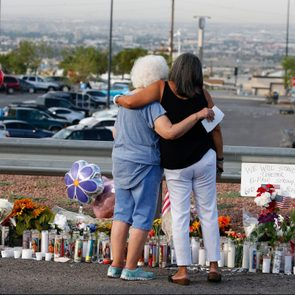 memorial along the street after the mass shooting that happened at a Walmart in El Paso