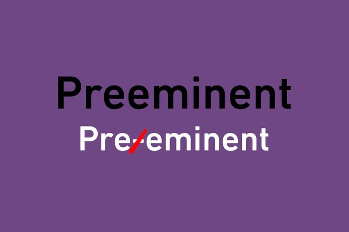 """text illustrating crossed out hyphen in """"preeminent"""""""