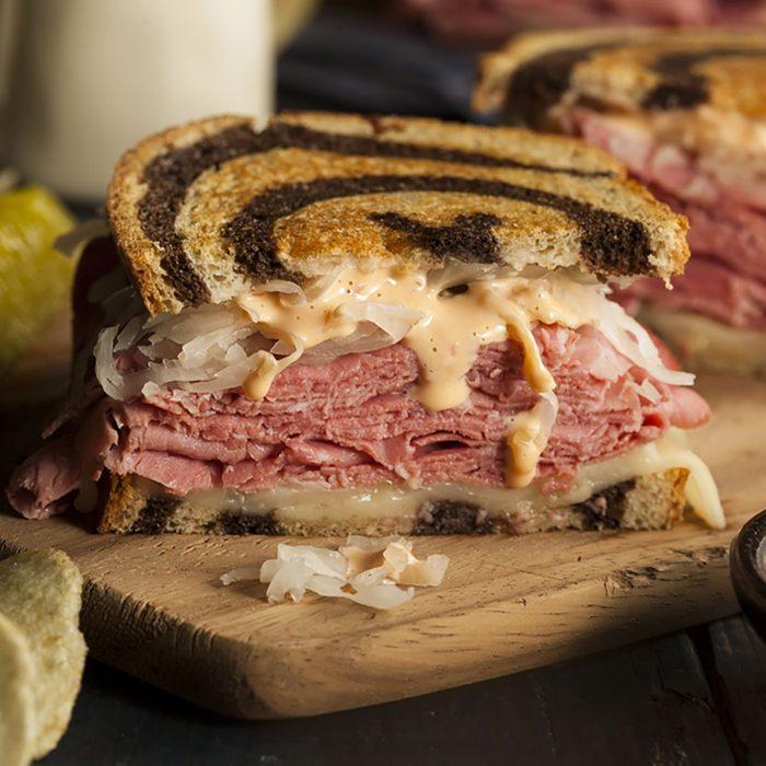 Homemade Reuben Sandwich with Corned Beef and Sauerkraut