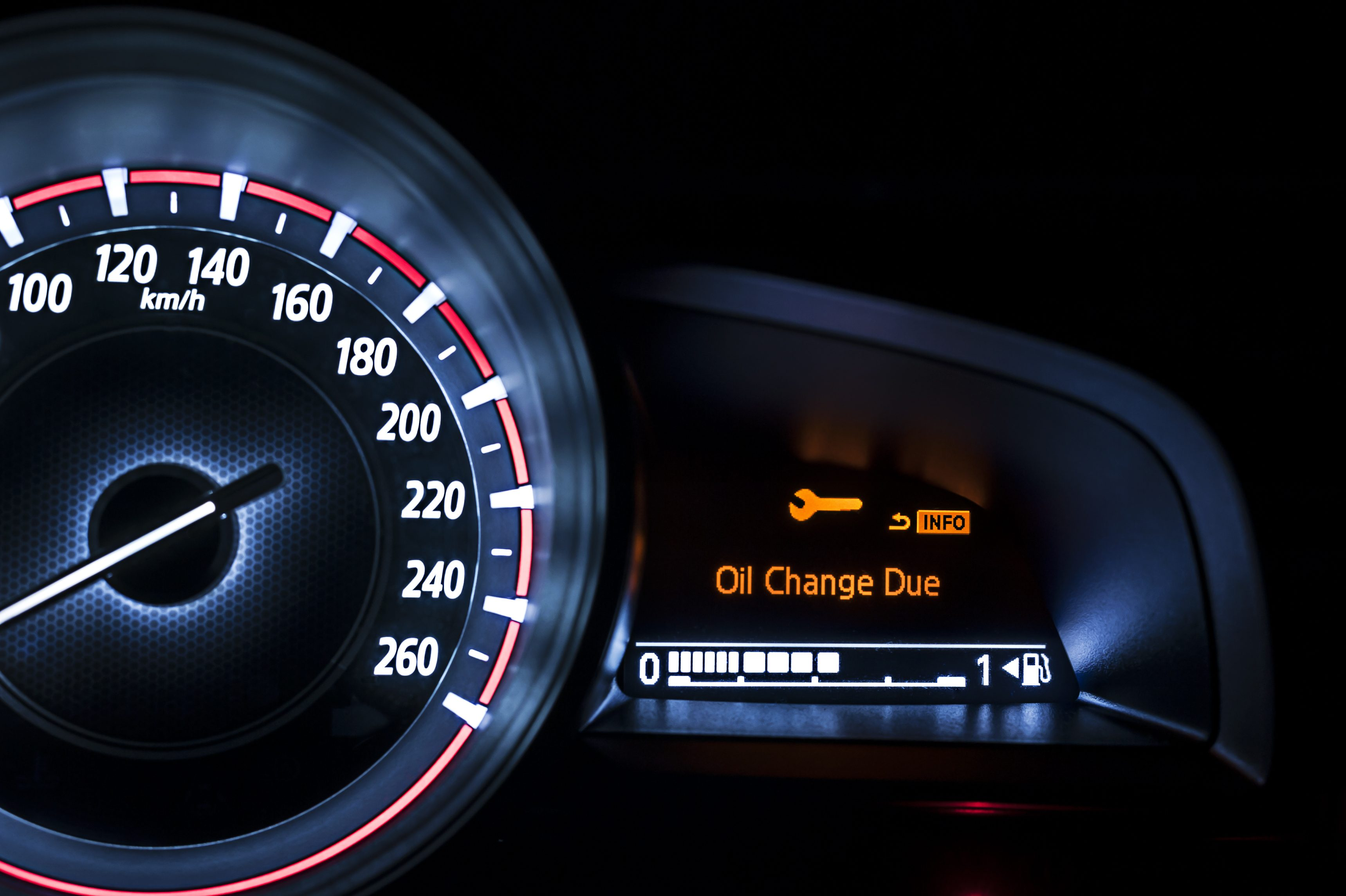 Car speedometer with information display - Oil Change Due Info