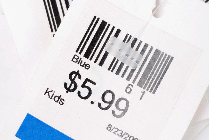 Price tag close up shot