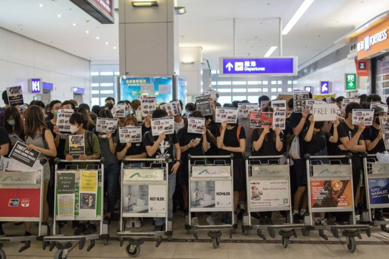 Thousands of protesters occupy Hong Kong International Airport to raise awareness at their concerns over possible extradition to China and overzealous police tactics deployed by local law enforcement. On August 11, tactics used by police caused a nurse to permanently lose vision in her right eye right eye while protesting at Tsim Sha Tsui. 13 Aug 2019