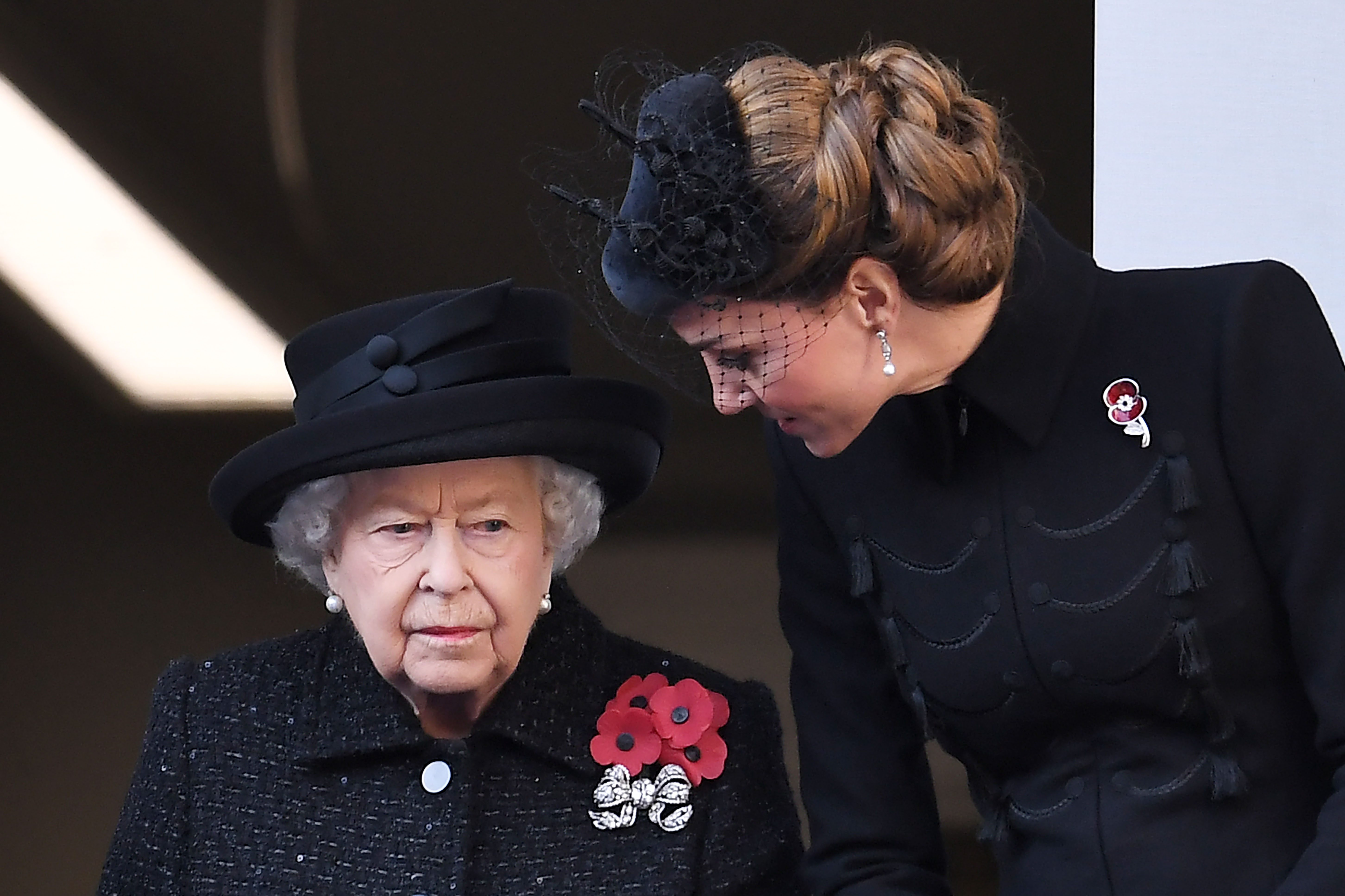 Mandatory Credit: Photo by James Veysey/Shutterstock (10469662ds) Queen Elizabeth II and Catherine Duchess of Cambridge Remembrance Day Service, The Cenotaph, Whitehall, London, UK - 10 Nov 2019