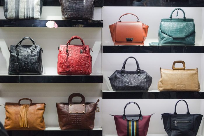 Handbags in the shop window of a fashion boutique