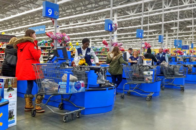 walmart customers checking out