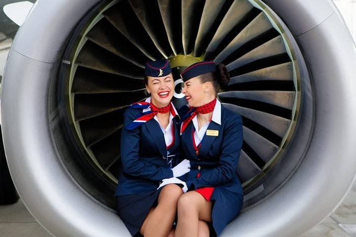 funny airline announcements laughing flight attendants