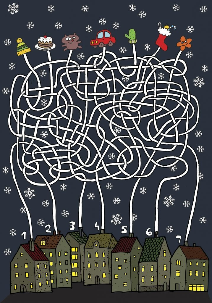 Christmas Maze Game ... Task: Each house gets its own present!