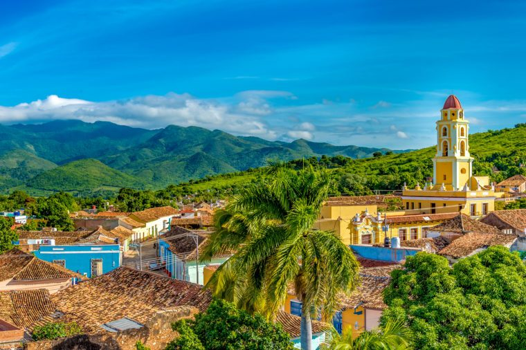 Trinidad de Cuba, panoramic skyline with mountains and colonial houses. The village is a Unesco World Heritage and major tourist landmark in the Caribbean Island