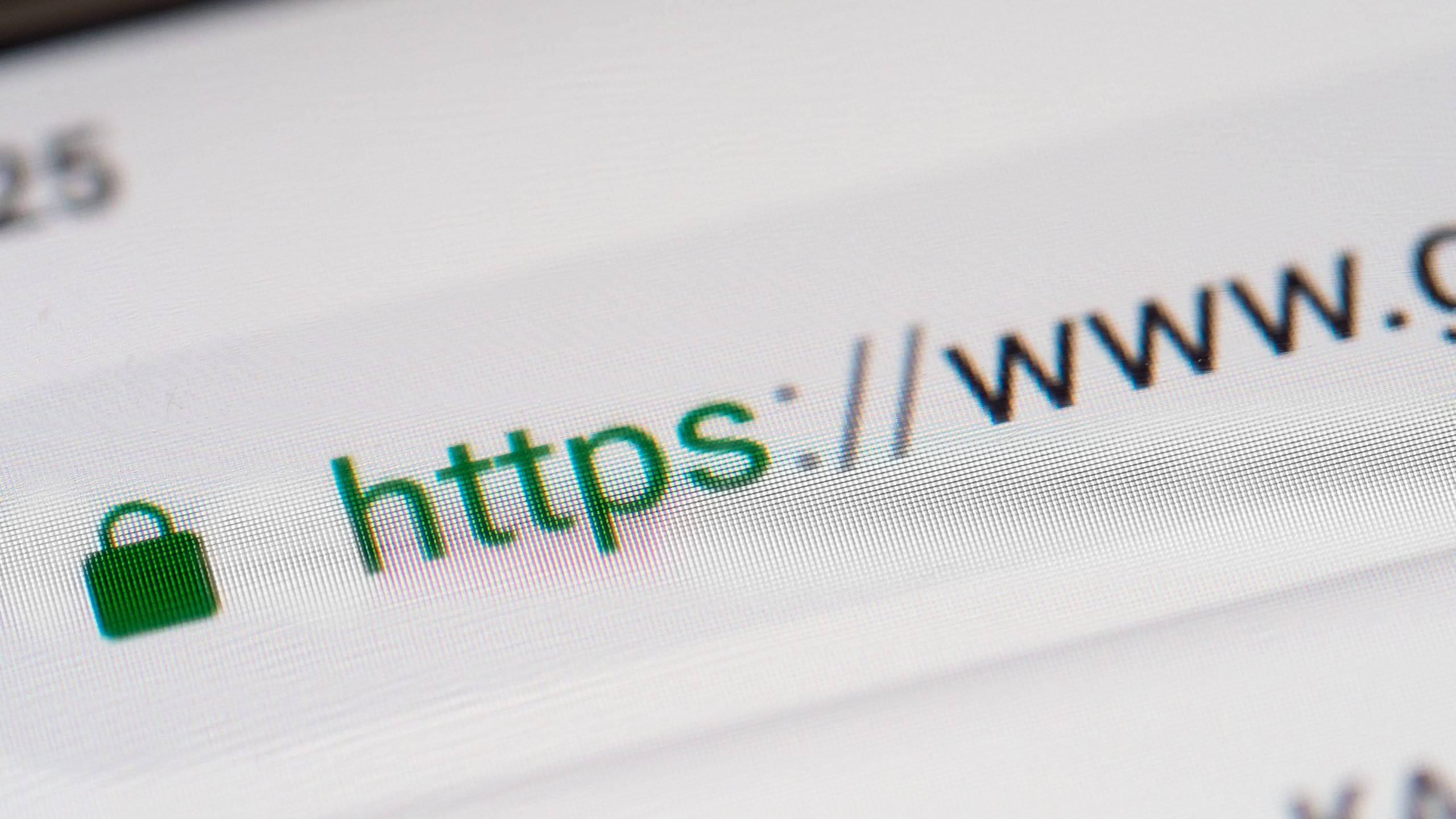 Closeup on smartphone display screen with https and www url. Security concept in search engine and web browser address. Hyper Text Transfer Protocol Secure https. Shallow DOF,