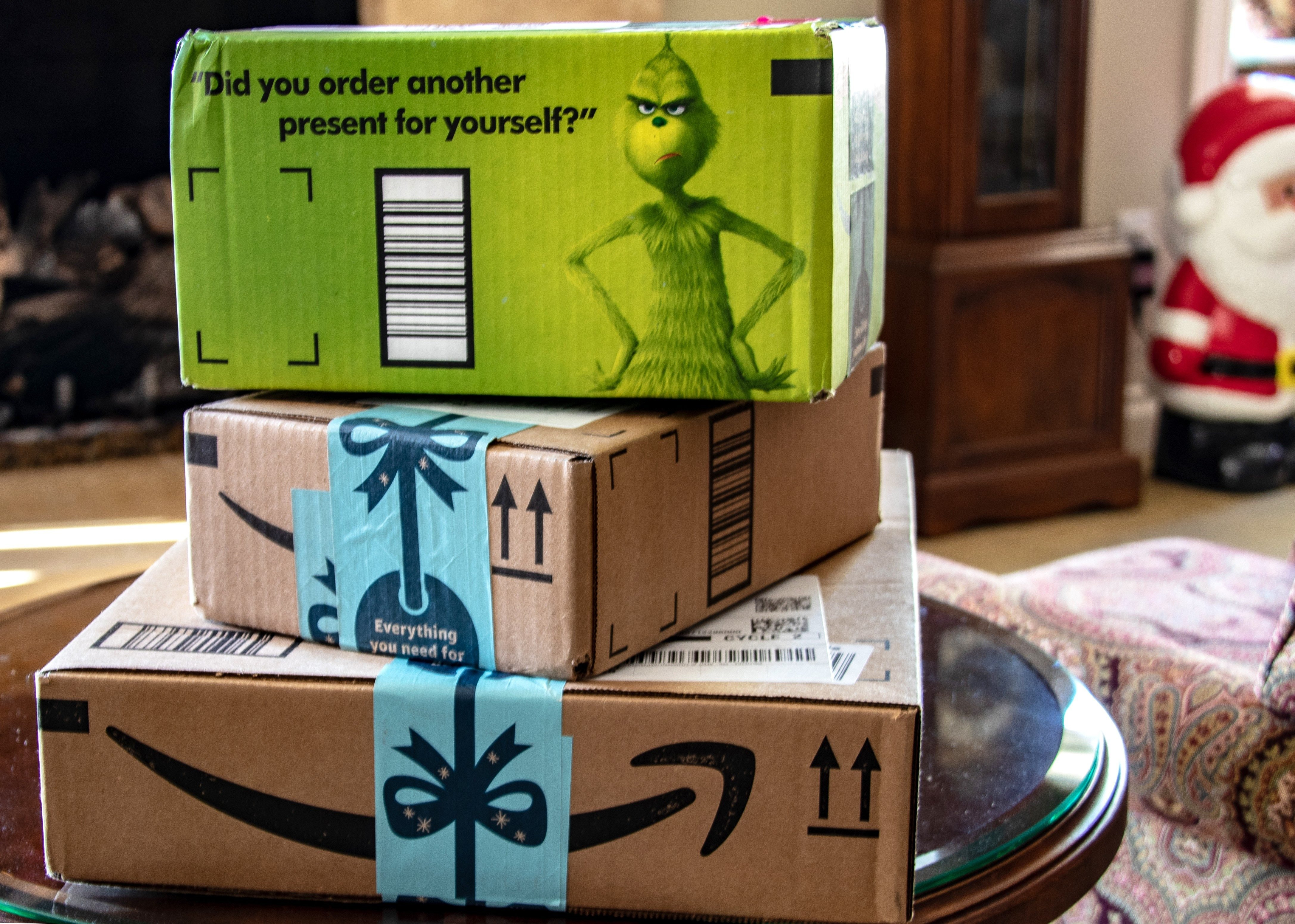 Laguna Hills, CA / USA - 12/01/2018: Packages From Amazon Just in Time for Christmas; Shutterstock ID 1246851064; Job (TFH, TOH, RD, BNB, CWM, CM): -