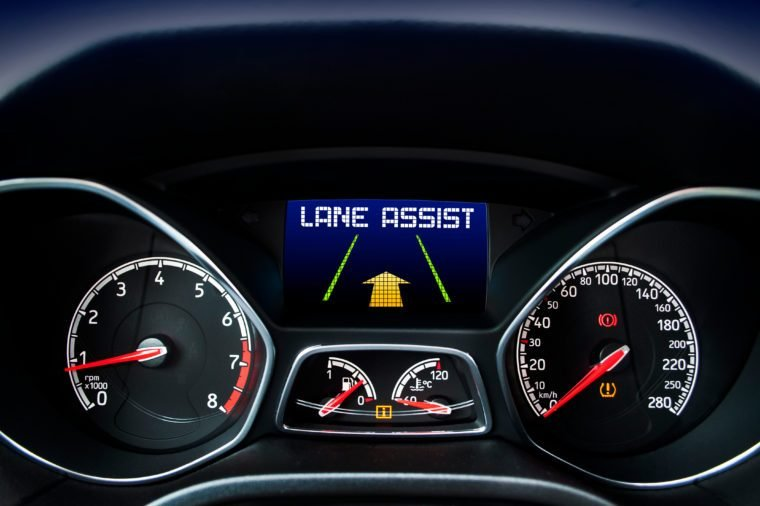 Speedometer with lane assist