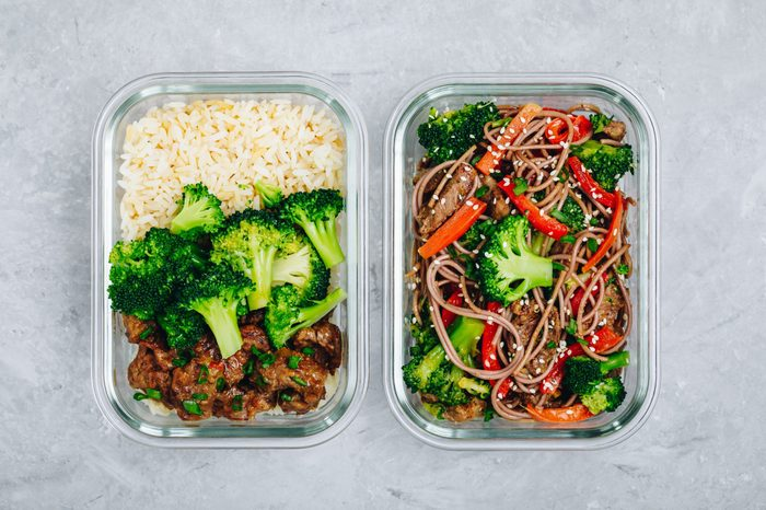 Beef and broccoli stir fry meal prep lunch box containers with rice or soba noodles