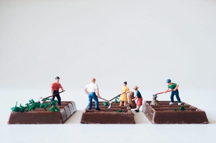 Close up miniature people farmer group on chocolate bar.