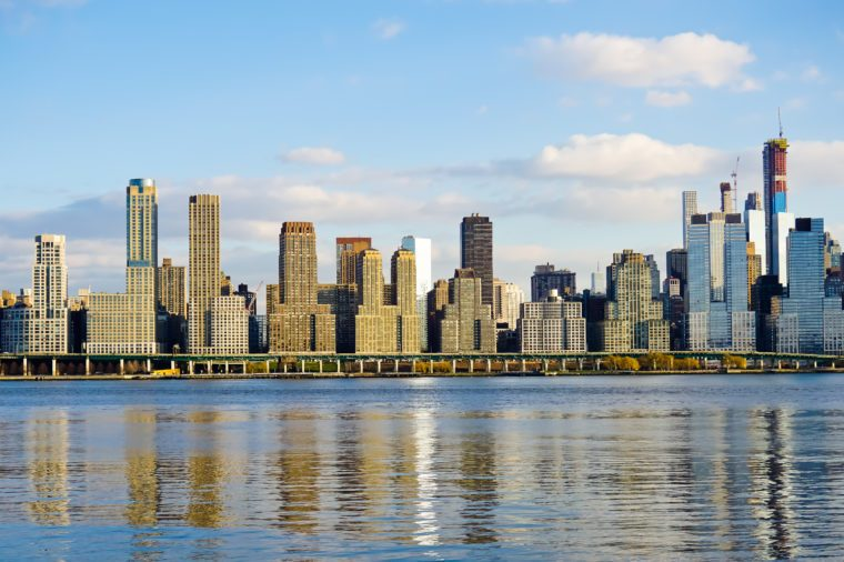 Scenic skyline of west side Manhattan nyc United States