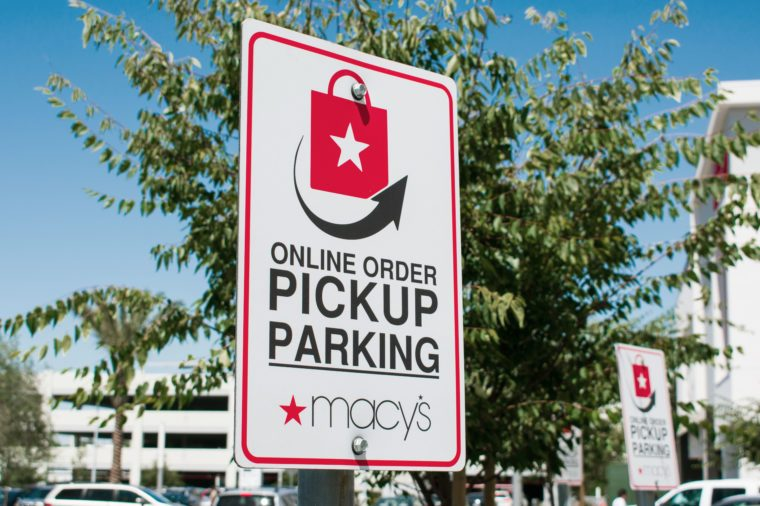 macy's online order pickup sign