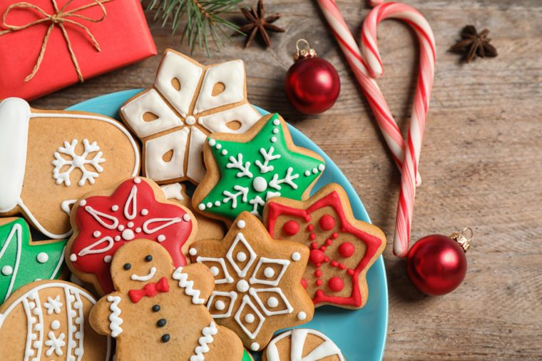 Composition with tasty homemade Christmas cookies on wooden table