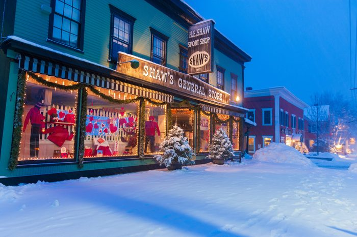 Stowe, Vermont, USA - Feb 10, 2005: Shaws General Store during a snow covered twilight