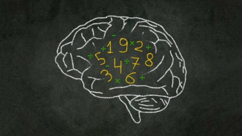Blackboard concept image of brain with numbers inside