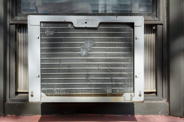 Closeup of an Old Window Unit Electric Air Conditioner