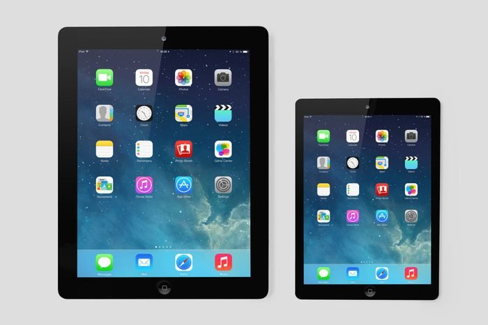 Kiev, Ukraine- March 10, 2014:Apple iPad and iPad Mini displaying iOS 7.1 homescreen. iOS7.1 operating system designed by Apple Inc. official output 10March2014. iPad is a tablet produced by Apple Inc; Shutterstock ID 181599740; Job (TFH, TOH, RD, BNB, CWM, CM): RD