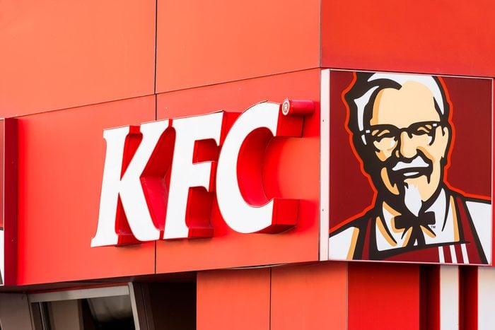 Close up of KFC logo and exterior