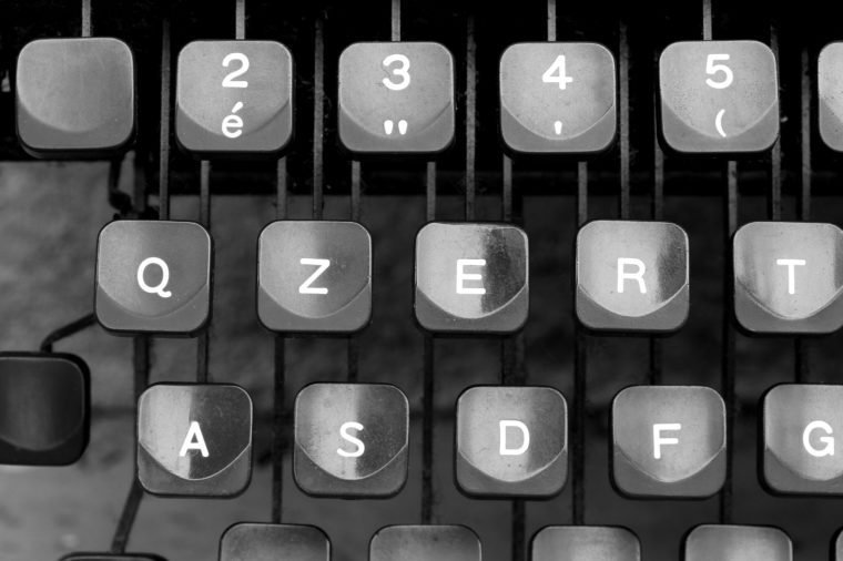 details of keyboard keys of an old typewriter