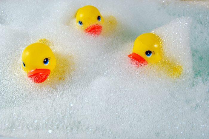 toy ducks in bubble bath
