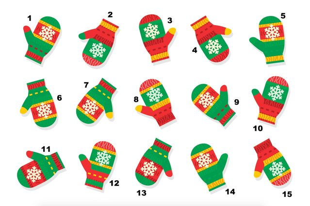 Winter, Christmas or New Year themed visual puzzle (suitable both for kids and adults): Find the mitten that has no pair. Answer included.