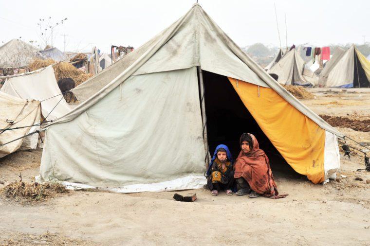 QUETTA, PAKISTAN - JANUARY 25: Flood survivors in relief camp in Quetta, Pakistan on January 25, 2011