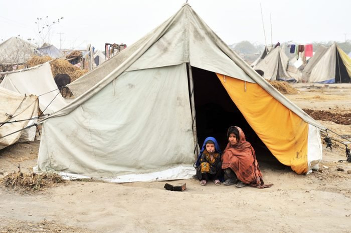 QUETTA, PAKISTAN - JANUARY 25: Flood survivors in relief camp in Quetta, Pakistan on January 25, 2011