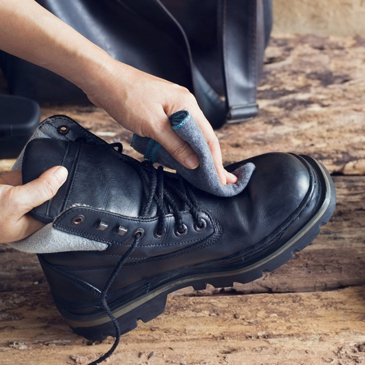 Cleaning shoes on wooden background; Shutterstock ID 376274287; Job (TFH, TOH, RD, BNB, CWM, CM): Taste of Home
