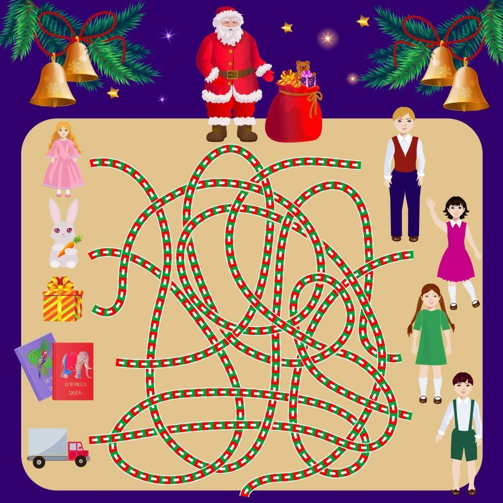 Search path in the maze with Santa Claus. Find a child gift to the owner. Christmas illustration of labyrinth pathfinding for kids.