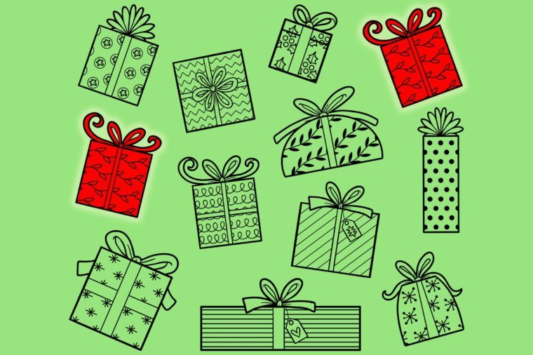 Find two the same pictures, education game for children. Set of Christmas gifts