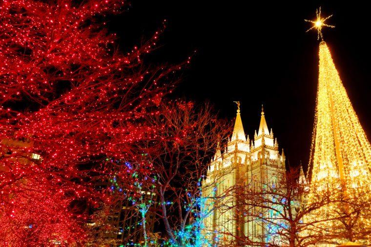 Temple Square Salt Lake City Utah with Christmas Lights Celebration for Christ's Birth