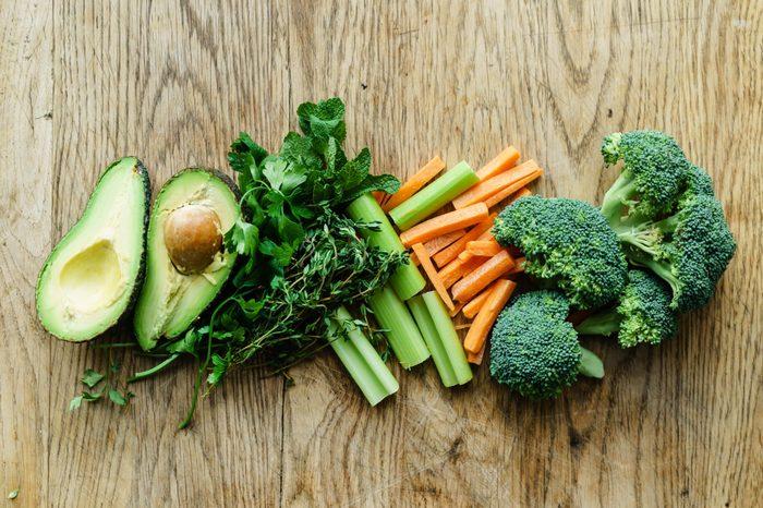 healthy snacks; avocado broccoli carrot sticks