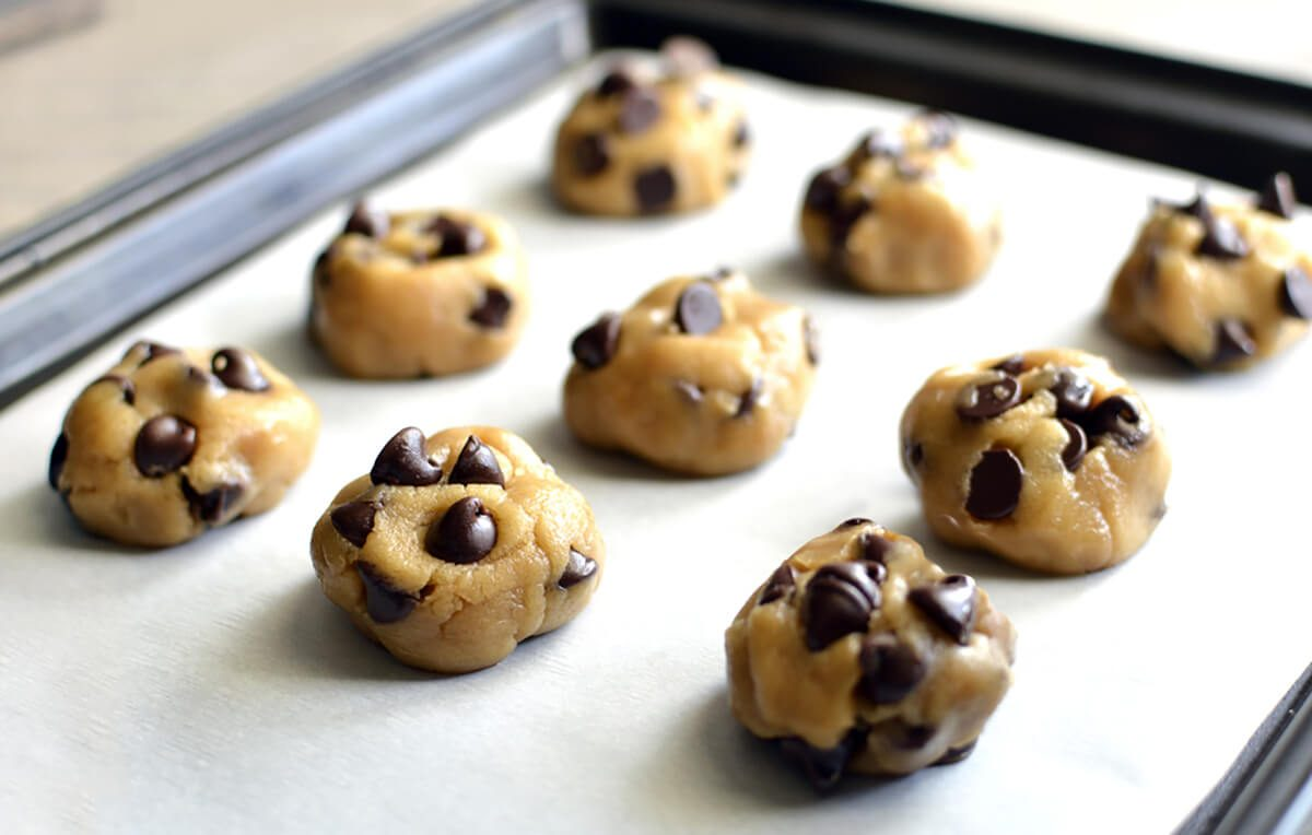 Chocolate chip cookie dough on pan