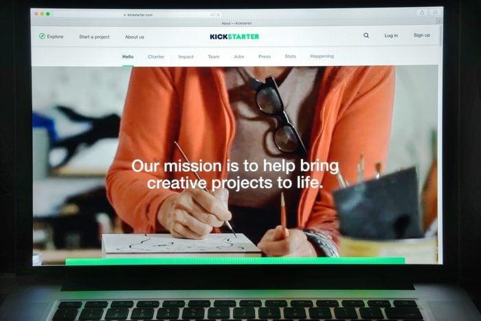 Milan, Italy - August 10, 2017: Kickstarter website homepage. It is an American corporation that maintains a global crowdfunding platform focused on creativity. Kickstarter logo visible.; Shutterstock ID 705051445; Job (TFH, TOH, RD, BNB, CWM, CM): RD