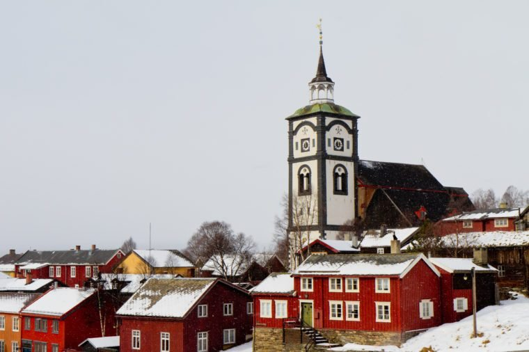 The church in Røros, Norway in snow
