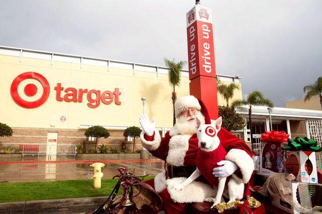 target holiday shopping santa and bullseye