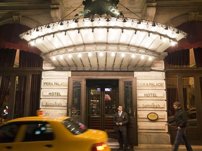 Mandatory Credit: Photo by David Pearson/Shutterstock (4706373i) Entrance to the Pera Palace Hotel in Beyoglu Istanbul, Turkey - Mar 2015