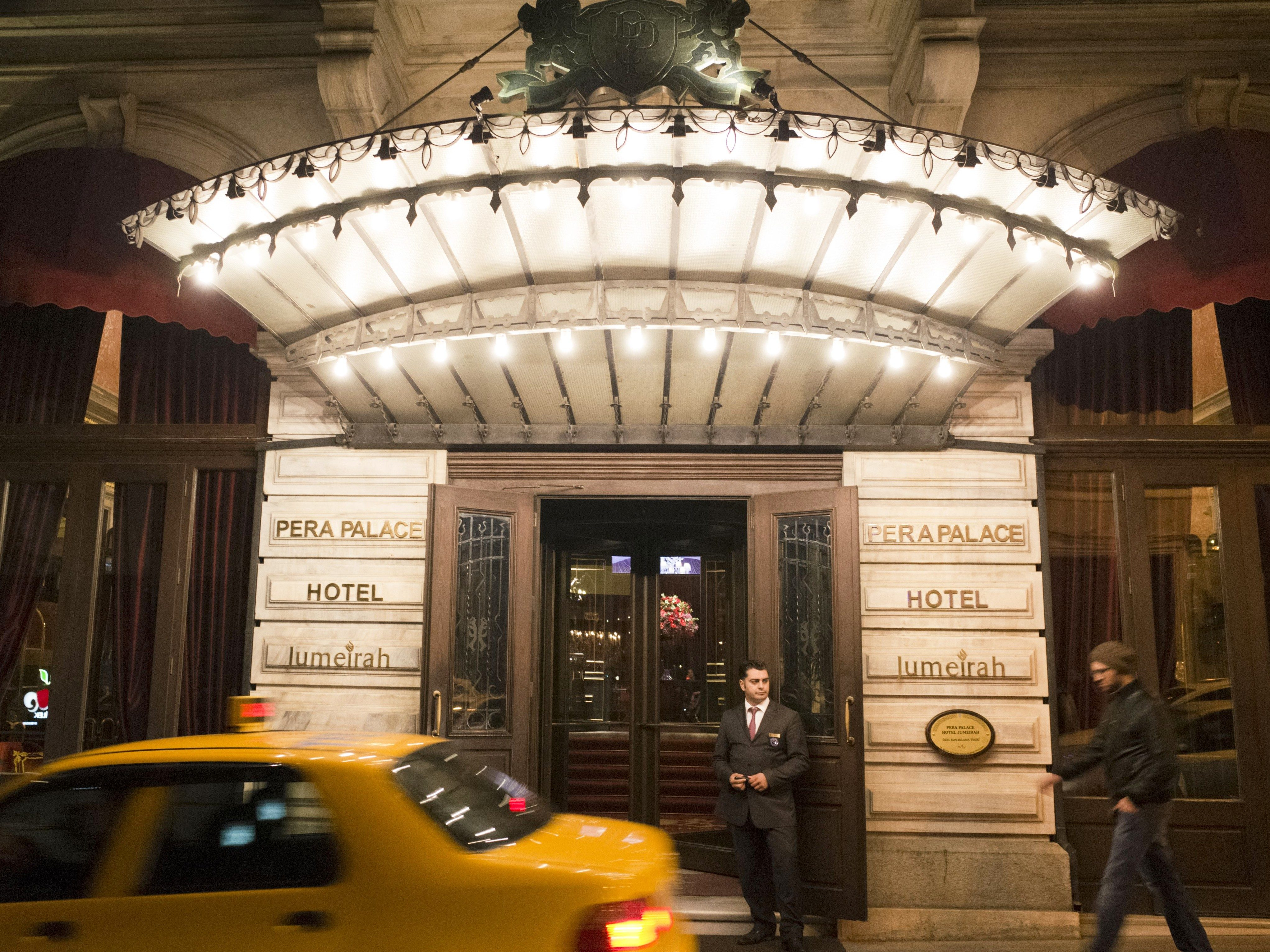 Mandatory Credit: Photo by David Pearson/Shutterstock (4706373i) Entrance to the Pera Palace Hotel in Beyoglu Istanbul, Turkey - Mar 2015