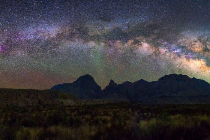 Panorama Milky way at Big Bend National park, Texas USA. Constellation and galaxy