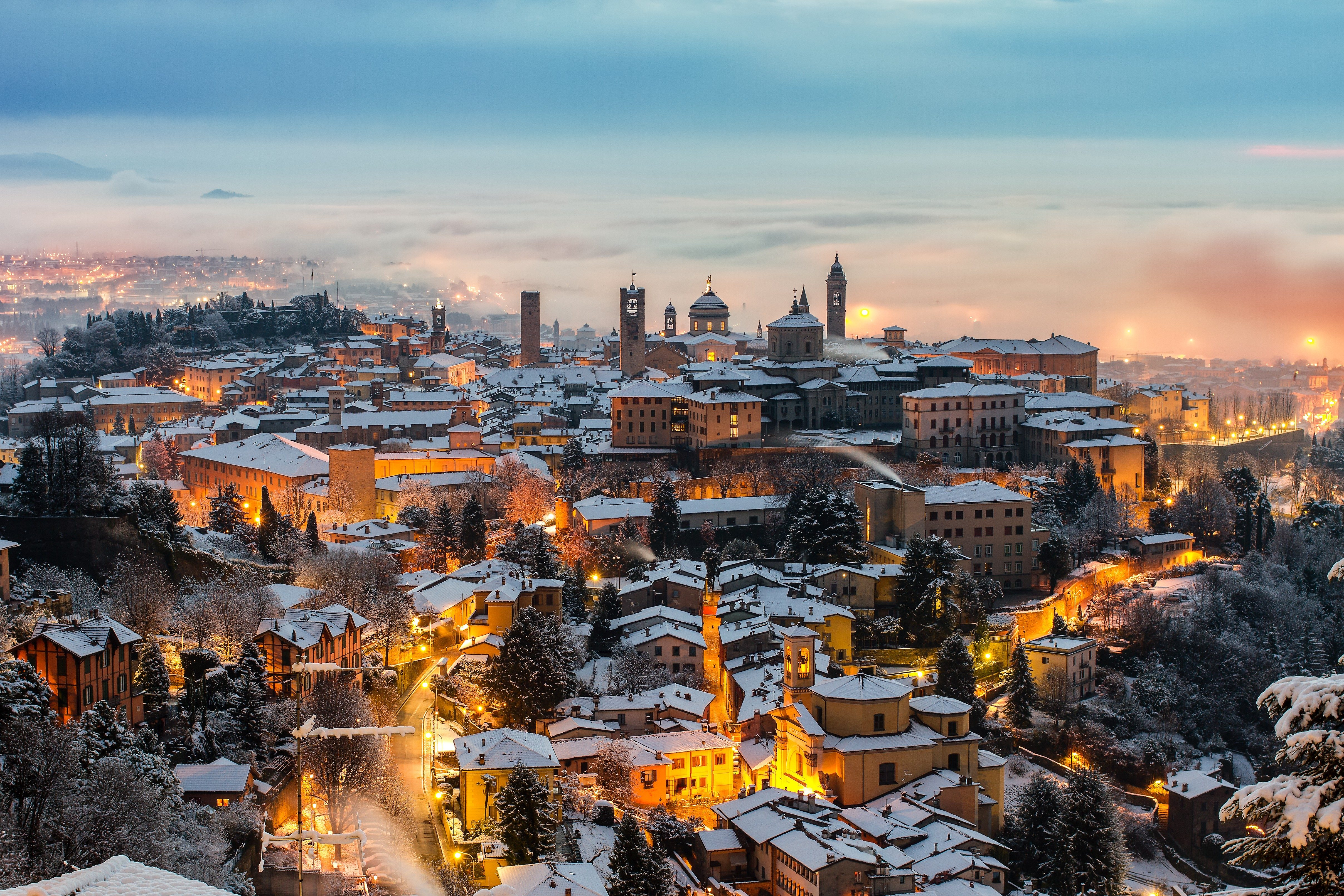 Beautiful medieval town at sunrise, Bergamo Lombardy