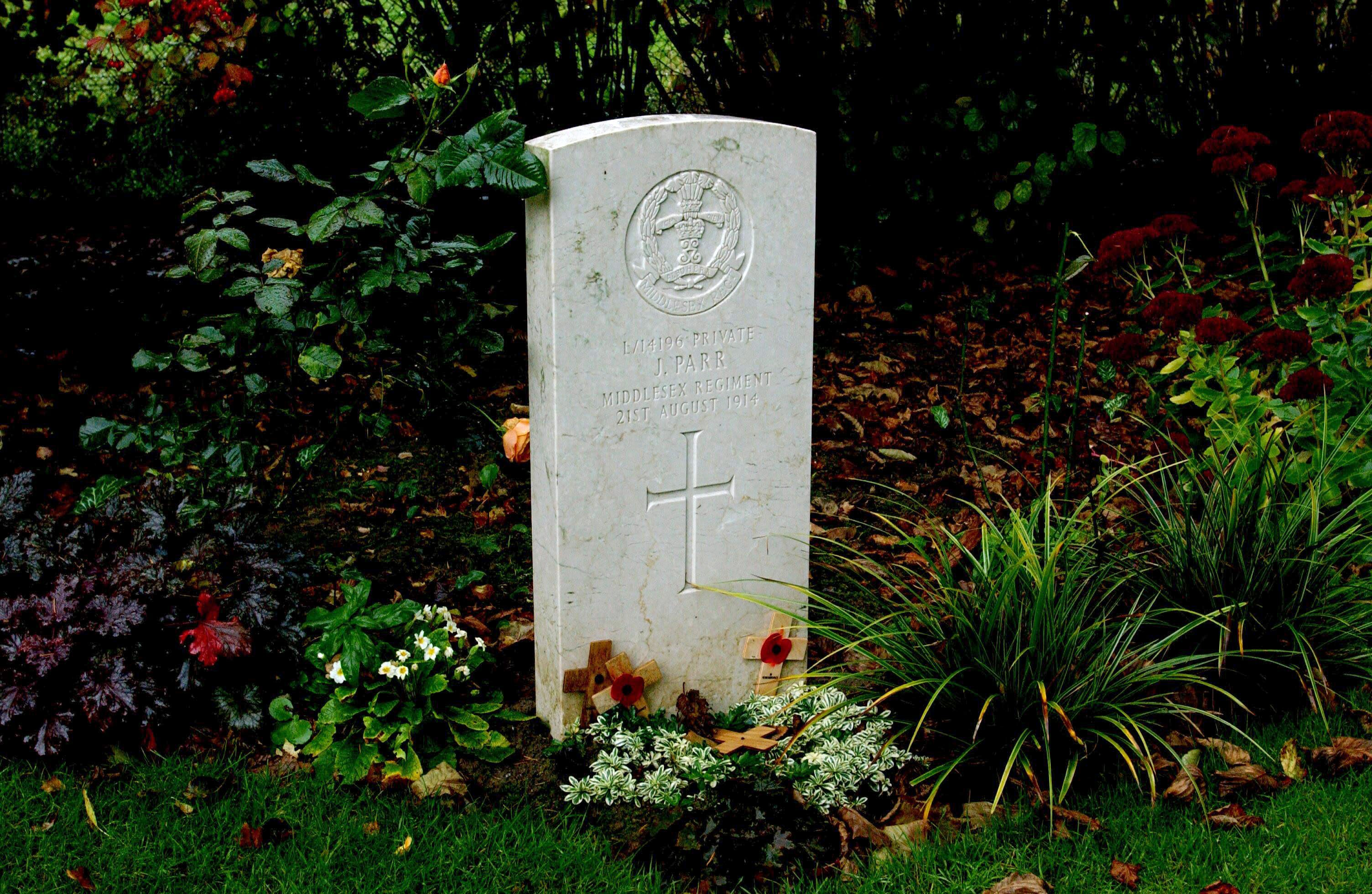 Mandatory Credit: Photo by Stuart Clarke/Shutterstock (814166d) Grave of Private John Parr, killed on 21st August 1914. The first British Soldier killed in the First World War St Symphorien Military Cemetery, near Mons, Belgium - Oct 2008