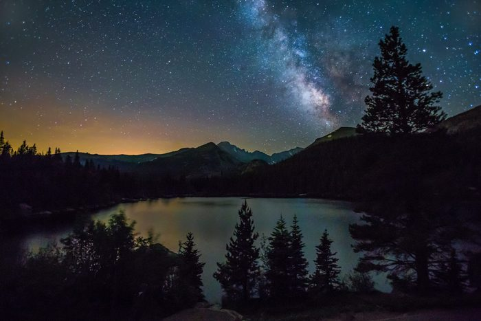 The Milky Way rising above Longs Peak and Bear Lake in Rocky Mountain National Park