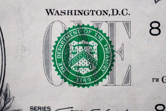 The Department Of Treasury Seal On Dollar Bill